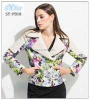 fashion women's printing sheepskin leather jacket and Motorcycle genuine Leather Slim short biker lambskin jacket coat for girls