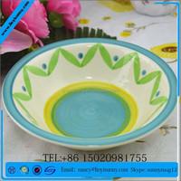 colorful 9'' hand painted ceramic soup/noodle bowl