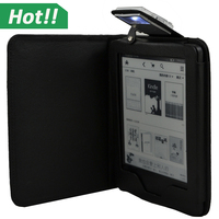 Luxury Leather Case Cover With Led Light For Amazon New Kindle Touch