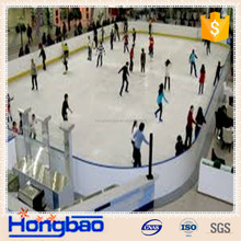Ice rink playground impact resistant HDPE white fence barrier with aluminum frame tempered glass