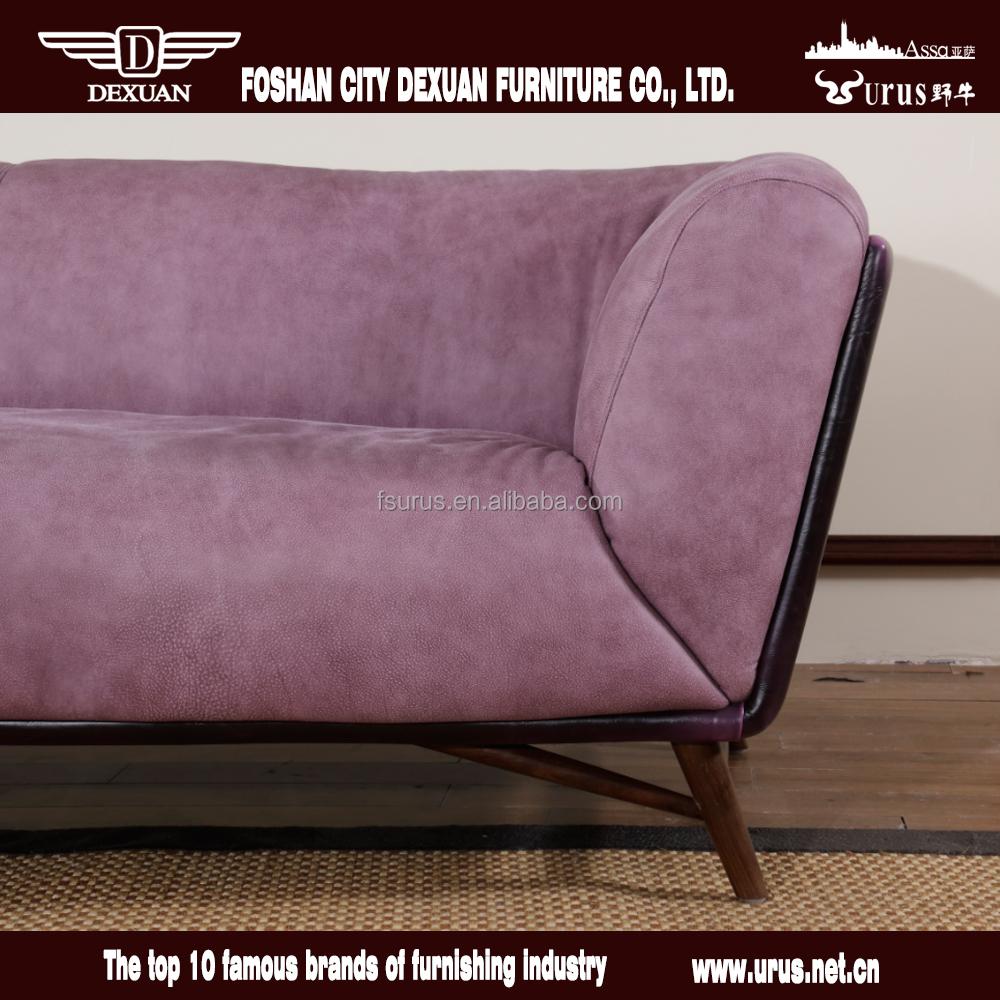 Comfortabele woonkamer sofa meubels nubuck leer paars bankstel dx ...