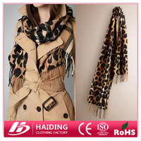 New Fashion Scarf Mixed Cashmere Leopard Scarf Wrap Women's Winter Warm Wool Cotton Scarve Shawl