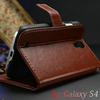 Luxury Wallet Stand Design Leather Case for Samsung Galaxy S4 i9500 SIV Mobile Phone Bag Flip Cover, Free Screen Flim