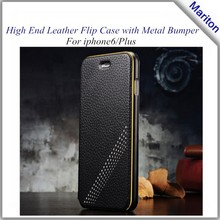 High End Luxury Real Leather flip case + Metal Bumper combo Case for iphone 6 and plus