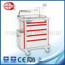 Q3 hospital emergency medical trolley with drawers