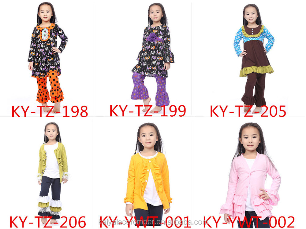 Hot gold polka dot girls boutique clothing wholesale children clothes fall 2015