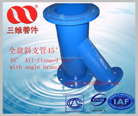 ductile iron pipe fitting 45degree All flanged tees with angle branch Manufacturers made in China