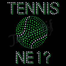 Fashion Motifs Design Green Tennis NE1 Iron On Rhinestone Appliques