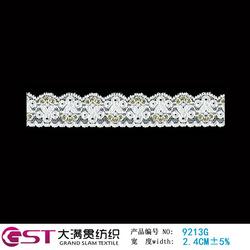 9213G Fujian Fuzhou Grand Slam 2.5cm White Elastic Knitted Mesh Nylon Spandex gold trimming lace for bridal veil