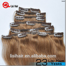 China Golden Supplier 100% Remy Human Hair Thick Cuticles Correct full head single weft clip in hair remy wavy