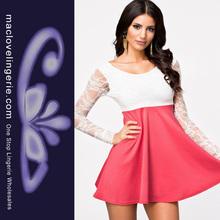 las mujeres melocotón otoño de alta cintura y espalda apertura de manga larga vestido corto de encaje