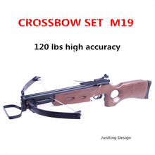 junxing M19 hot sale high accuracy and multifunctional hunting fold crossbow with wooden stock and aluminum slide 120lbs