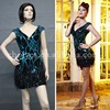 ES61534 Sexy Deep V-neck Backless Bling Bling Cocktail Dress Short Party Dress