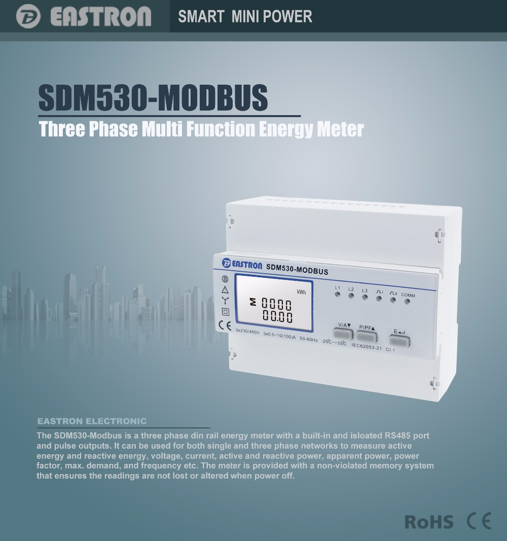 Sdm530modbus Three Phase Four Wire Energy Meter With Rs485,Din Rail ...