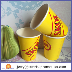 Disposable colored cups, hot cafe paper glass with lid