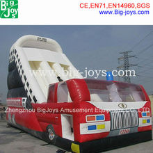 0.55mmPVC Fire truck custom commercial inflatable slides for sale