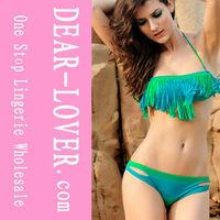 Green and Blue Tassel Bikini Swimwear for mature women
