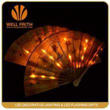 Battery operated ABS,Silk material Custom Printed Folding Hand Fan with LED flashig