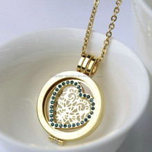 New Arrival 316l stainless steel glass open locket costume jewelry lockets