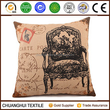 European style cotton linen printed cushion for home decoration