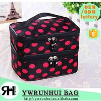 China Wholesale 2 layers large beauty cosmetic case polyester cosmetic pouch with mirror