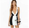 alibaba atacado vestido preto e branco vestidos deep v costas nuas vestidos longos