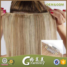 Wholesale High Quality Grade 7a Full Head Straight Piano Color Remy Brazilian Clip In Hair Extensions For Children