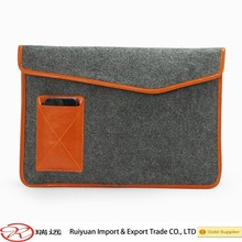 2015 new arrival !!!Fashionable 13'' Felt laptop case with leather pocket