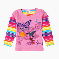 2-6T (G618#PINK)Ready made stock wholesale baby girl fashion t shirt