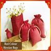 Festival Red Hessian Drawstring Bags