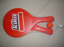 Red Wooden beach racket with printed logo, Wooden beach tennis racket