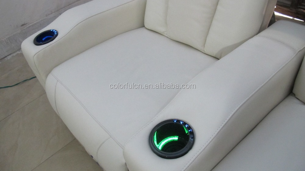 ... Import Genuine Leather Recliner Sofa Set LS805 With Cold Cup Holder And  LED Light Seat ...