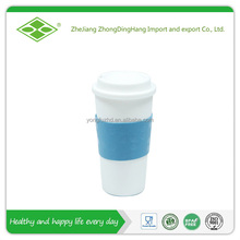16oz promotional double wall plastic mug sublimation with silicone