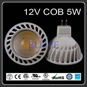 Blanco caliente 5 vatios MR16 COB 35 ° 12V carcasa de plástico
