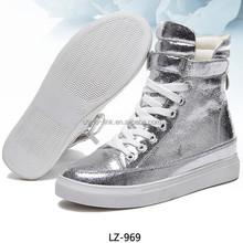 PU leather woman zapatos beautiful fashion high cut women sneakers