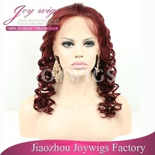 Discount AAAAA grade factory price tight curl Invisible knots red silk top wig