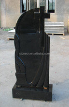 Russian style china jet black cheap cemetery granite monuments