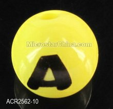Acrylic yellow solid round with black alphabet letter beads 10mm 2012 hot sales