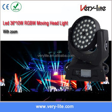 36 pcs 4 in 1 10w RGBW leds zoom moving heads bright light