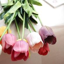 Free Sample Cheap Beautiful Decoration Plastic Artificial PU Tulip Flower