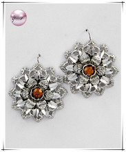 Rhodiumized / Topaz Rhinestone Accent / Flower Dangles / Fish Hook Earring Set