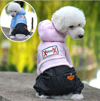 wholesale winter two colour dog coat and jeans set for pet