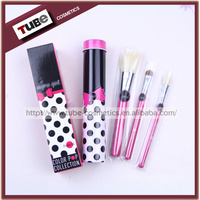 Mini 3pcs Brush Set With Metal Box Aluminium Case Color Pop Makeup Brush Kit For Kids in Cylinder Cup Holder