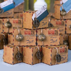 Vintage Inspired Airmail Wedding Favor Box Kraft Paper Box Packaging Boxes(BF960)