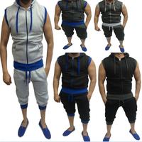 Wholesale Mens Sleeveless Blank Cotton Track Suit