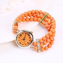 orange glass beads quartz lady watch