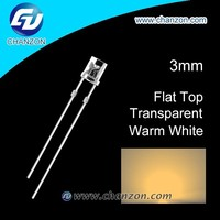 2015 Light Emitting Diode hot sale flat top 3mm warm white led diode