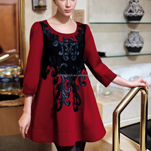 China Manufacturer OEM Women Party & Casual Spring Dark Red Embroidered Dresses