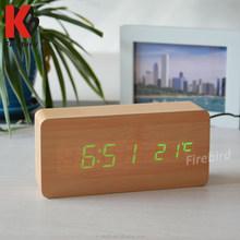 promotional big discount fancy wooden mini digital clock for car