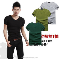 Summer hot-selling men's T Shirt 2015 new arrival blank short-sleeve V-neck solid color male t fashion 6 Colors